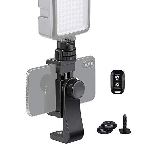 Lammcou Support de trépied pour Smartphone, Support de téléphone à 360 degrés avec Adaptateur Hotshoe + télécommande pour Smartphone pour iPhone, Samsung, Huawei & Trépied Monopod Selfie Stick