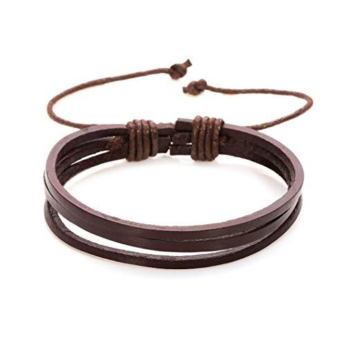 AKKi jewelry Armband für Herren Man Leder-Armband Armkette Geflochten Seil Armreifen Größe Verstellbar aus echt-Leder Partner-Schmuck Braun 3
