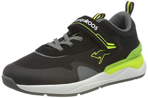 KangaROOS Unisex-Kinder KD-Gym EV Sneaker, Jet Black/Neon Yellow 5062, 32 EU