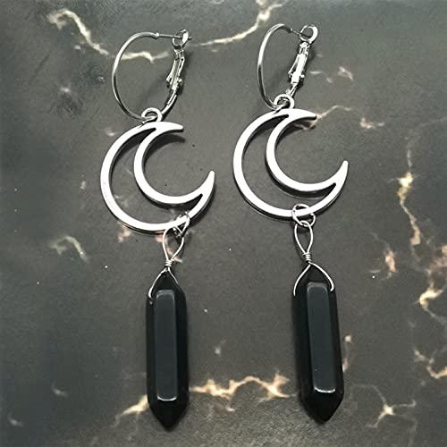 QWEQWE Pendientes con Pendientes, Pendientes de aro de Cristal, Pendientes celestes, joyería. (Metal Color : 1)