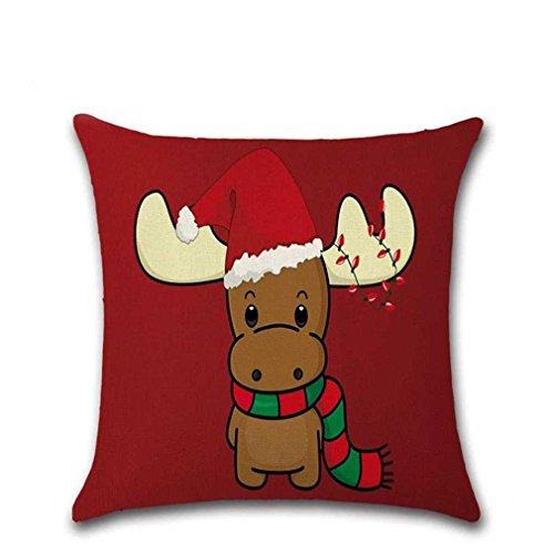 Federe Cuscini,Fittingran Regali Di Natale Belle Federe In Lino Stampato Cuscino Natale Grande Federa Di Stampa Di Colore Rosso (J)