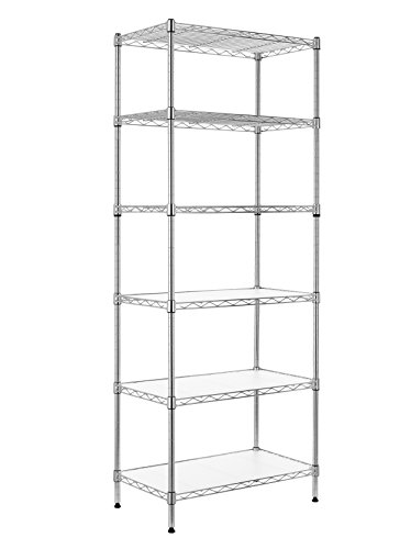 Finnhomy 6-Tier Wire Shelving Unit Adjustable Steel Wire Rack Shelving 6 Shelves Steel Storage Rack or Two 3 Tier Shelving Units with PE mat and Stable Leveling Feet, Chrome