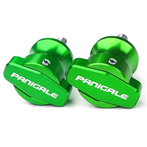para D-UCATI 899 Panigale 959 Panigale 1199 1299 con Logotipo Motocicleta CNC Marco 6MM Soportes Tornillos Deslizadores Basculante Carretes Deslizador (Color : Verde)