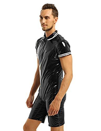 inlzdz Men's Shiny Metallic PVC Leather Front Zipper Boxer Briefs Leotard Bodysuit Zentai Costume