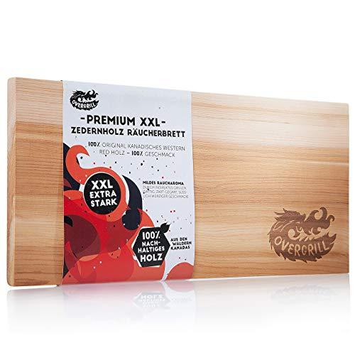 OVERGRILL Zedernholzbrett zum Grillen: Premium XXL Zedernholz Rauchbrett - Holzbrett zum Grillen aus Kanadischem Western Red Holz, Grillholzbrett für mildes Raucharoma, Grillplanke Zedernholz
