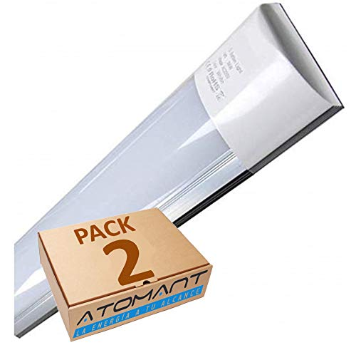 Pack 2X Lampara Luminaria 120cm. 40w. Color Blanco Frio (6500K). 3300 Lumenes. IP44. Facil de limpiar. A++