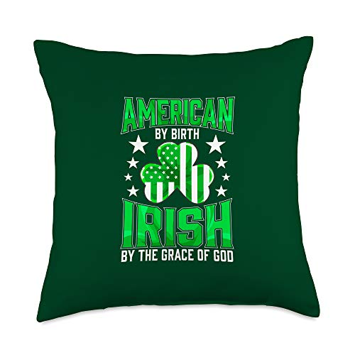 Celebrate Ancestors from Ireland Apparel and Gifts Funny Irish Pride St Patrick's Day Celtic Green Shamrocks Throw Pillow, 18x18, Multicolor