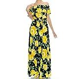 Janette Fashion Off Shoulder Navy Blue Yellow Floral Elegant Maxi Dress
