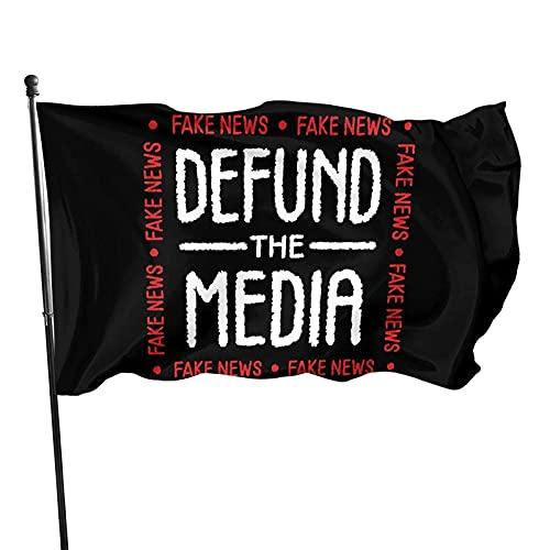 Banderas para jardín Defund The Media Fake News Bandera Resistente a la Intemperie Banderas Nacionales Poliéster con Ojales 150x90 cm