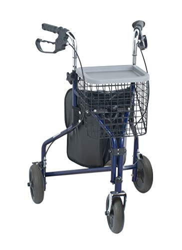 NRS Healthcare M85577 Three-Wheel Rollator Walking Aid  with Basket & Tray, Blue...
