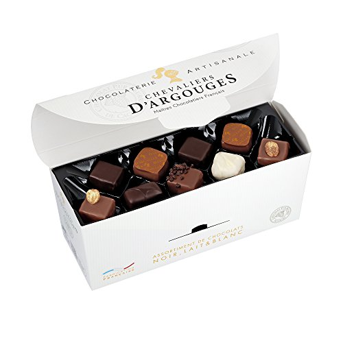 CHEVALIERS DARGOUGES Maîtres Chocolatiers Français Assortiment de Chocolats Noir/Lait/Blanc Ballotin Dégustation 355 g