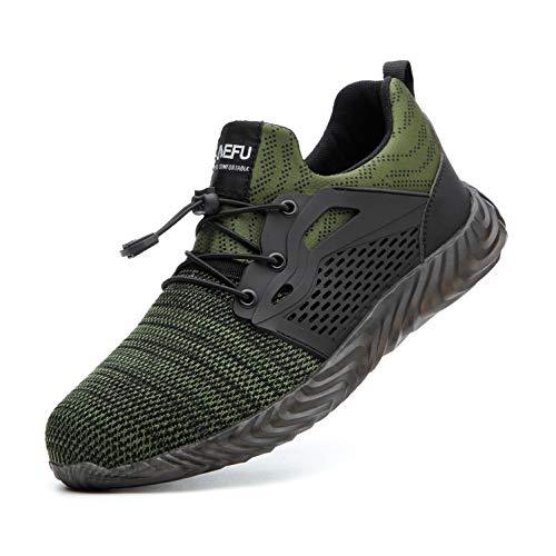 Gainsera Zapatos de Seguridad Zapatos de Trabajo Zapatos con Punta de Acero Ligero y...
