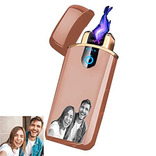 Stɑy Real Customized Herren Feuerzeug Personalisierte Gravierte Foto USB Ladefeuerzeug Feuerzeug Vatertag, Weihnachten, Golden-Doppelseitig