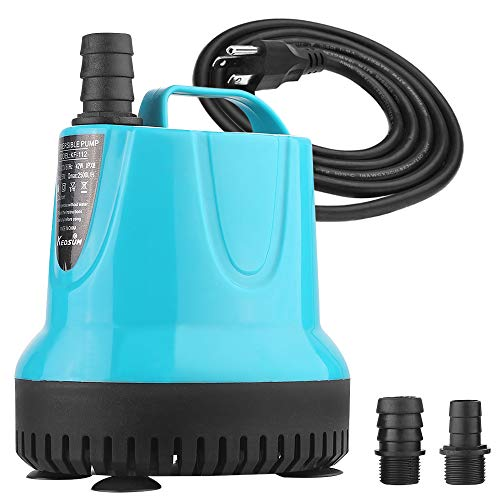 KEDSUM 400GPH Submersible Pump(1500L/H,37W), Ultra Quiet Water Pump with 7.2ft High Lift, Fountain Pump with 5.9ft Power Cord, 3 Nozzles for Fish Tank, Pond, Aquarium, Statuary, Hydroponics