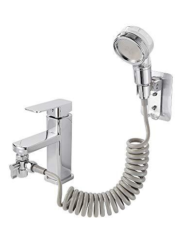 Calfollow verstellbares Waschbecken-Wasserhahn-Spray-Set – Handbrause mit abnehmbarem Schlauch, Handbrause für Haarwäsche, Haustierbad