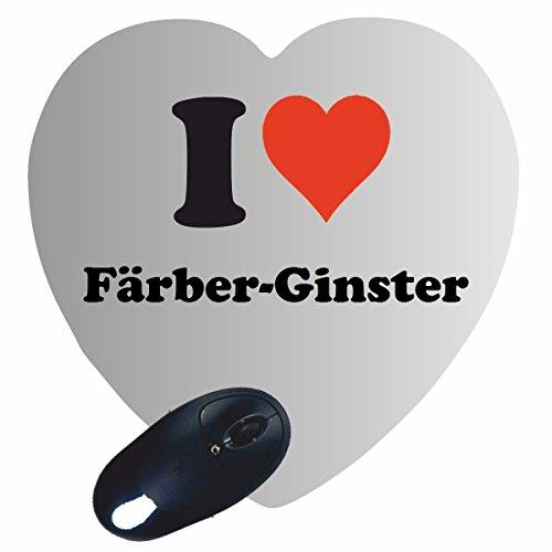 """Herz Mauspad \""""I Love Färber-Ginster\"""" in Weiss, eine tolle Geschenkidee die von Herzen kommt  Rutschfestes Mousepad   Geschenktipp: Weihnachten Jahrestag Geburtstag Lieblingsmensch"""