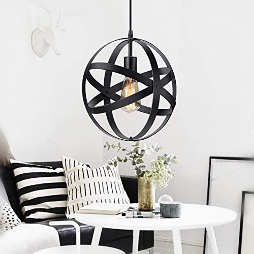 Oursun Suspension Luminaire Industrielle Vintage Lustre Industriel Metal Lampe Retro Plafond Lampe Suspension Ronde avec E27 pour Chambre Salon Restaurant