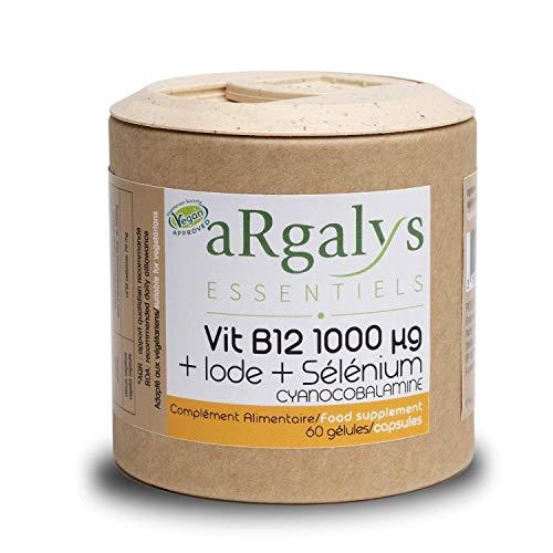 Vitamine B12 1000 µg + Iode et Sélénium   Cyanocobalamine   Cure de 30 à 60 semaines   Vegan   Recyclable   60 gélules fabriquées en France   Compléments alimentaires   Argalys Essentiels