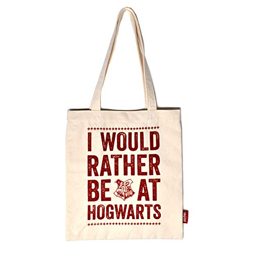 Harry Potter Shopping Bag Hogwarts Slogan Half Moon Borse
