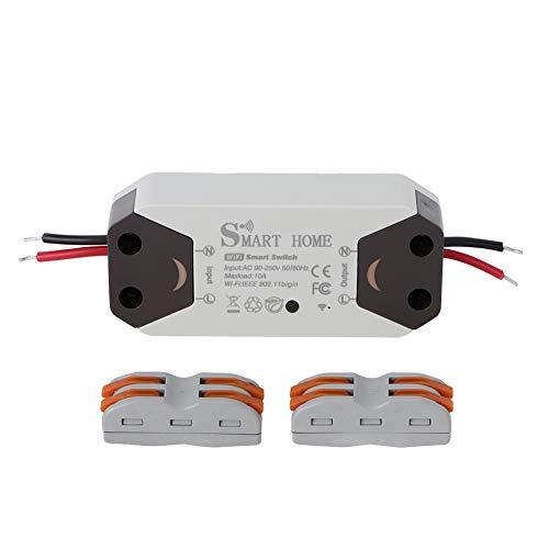 Leylor Interruptor Inteligente WiFi-Interruptor de Circuito WiFi Interruptor Inteligente de Control Remoto con Terminal de conexión rápida para Alexa Home AC 90-250V