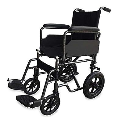 Silla de ruedas para minusválidos y ancianos, de tránsito, plegable, ortopédica, reposapiés, reposabrazos, ligera, negro, asiento 46 cm