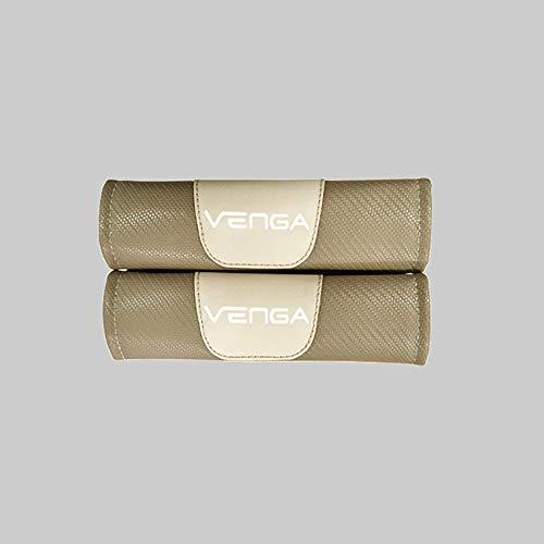 ZXCV 2 Fundas Coche Almohadillas Cinturón Fibra Carbono, para Kia Venga Hombro Correa Protector Seguridad con Logo Auto Interior Accesorios