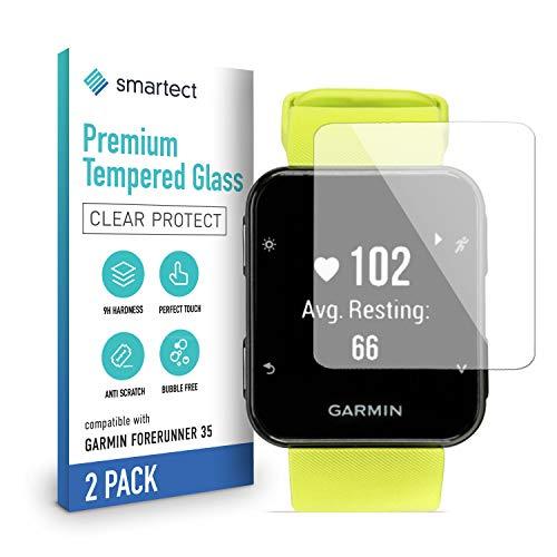 smartect Schutzglas kompatibel mit Garmin Forerunner 35 [2 Stück] - Tempered Glass mit 9H Festigkeit - Blasenfreie Schutzfolie - Anti-Kratzer Bildschirmschutzfolie
