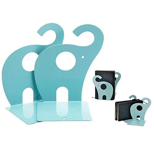 XLKJ 2 Unidades Lindo Sujetalibros Elefantes Antideslizantes de Metal, 19 * 12 cm Azul