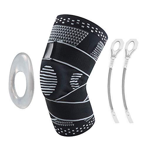 Victoper Kniebandage für Arthritis, Gelenkschmerzlinderung, Erholung, Fitnessstudio, Basketball, Laufen, Skifahren, schwarz grau, XL