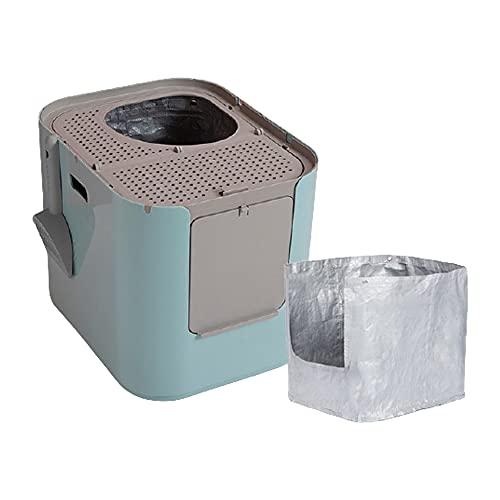 XIGUAPI Caja de Arena de Gato con Cuchara de Basura, Entrada Superior o Entrada Delantera Caja de Arena de Gato, Impermeable, Agujero de Basura, con Bolsa,Azul