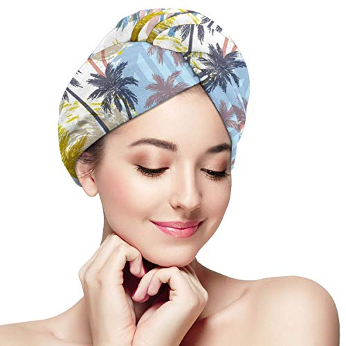 Trees Beach Sun Ocean Microfiber Hair Towel Wrap for Women Super Absorbent Quick Dry Hair Turban for Drying Curly Spa Towel 28 inch X 11 inch