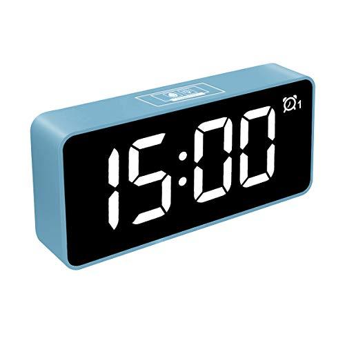 HOMVILLA Reloj Despertador Digital, Relojes con Pantalla LED de 4.6 con Alarma Dual, Puerto de Carga USB 12/24 Horas Brillo Ajustable Función de Repetición 25 Música, para Dormitorio Oficina y Viajes