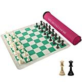 HOLYKING 20' Tournament Travel Chess Sets Roll Up, Weighted Vinyl Chess Board Game Set in Carry Tube with Shoulder Strap, Beginner Portable Chess Set Family Games for Kids Adults -Forest Green