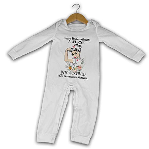 Baby Never Underestimate A Nurse Who Survived 2020 Co.Ro.Na.V.I.R.U.S Pandemic Long Sleeve Jumpsuit White