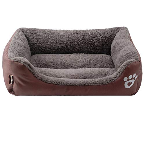 Cama Perro Fleece Dog Bed Paw Pattren Fondo Impermeable para Mascotas Sofá Estera Cálidas Camas para Perros para Perros Grandes S-3Xl MG (Style1)