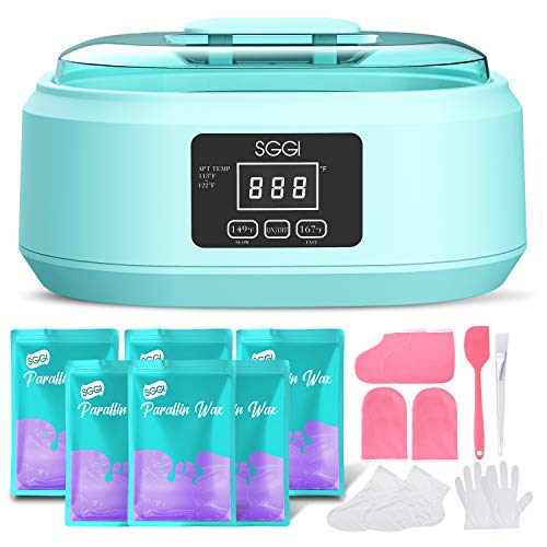 SGGI Paraffin Wax Machine with 3000ML Lager Capacity, 6 Packs of Wax Blocks (2.6lb) for Hand and Feet, Paraffin Spa Wax Bath Kit Help to Moisturize, Smoothen and Soften Skin, Gift for Women-Lavender
