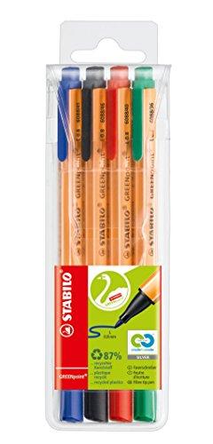 Umweltfreundlicher Filzschreiber - STABILO GREENpoint - 4er Pack - blau, schwarz, rot, grün