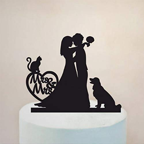 Cake Topper For Wedding Wife And Woman Same Sex Lesbian With Dog Funny Bride Groom Wedding Cake Topper Gifts Cake Topper