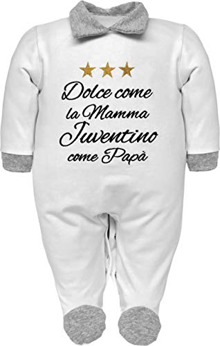 Pijama de bebé nacido para fanáticos de la Juventus, Interistas y Milanistas con frase divertida bordada, dulce como la madre y aficionado como papá. Mono de algodón gris jaspeado 0-3 Meses