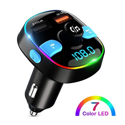 ZeaLife Bluetooth FM Transmitter, QC3.0 Auto Handy Adapter Musik mit Dual USB Ladegerät Freisprecheinrichtung Car Kit, Bluetooth Adapter Auto mit Buntes Umgebungslicht und 64G USB Stick & TF Karte