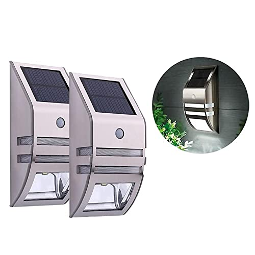 LINGTH 2 lámparas solares de pared para jardín, con sensor de movimiento PIR, iluminación de caminos, luz de seguridad, para vallas, terrazas de jardín, decoración de caminos