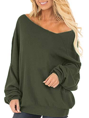 Auxo Donna Maglione Asimmetrico Pullover Oversize Maniche Lunghe Felpa Elegante Casual Jumper Top Cardigan 02-Verde S