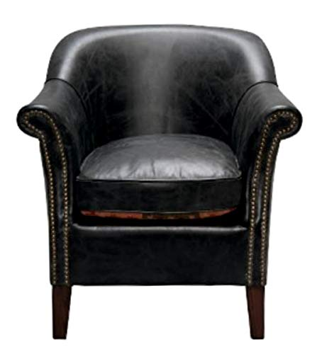 Casa Padrino Echtleder Sessel Schwarz 75 x 75 x H. 78 cm - Leder Möbel