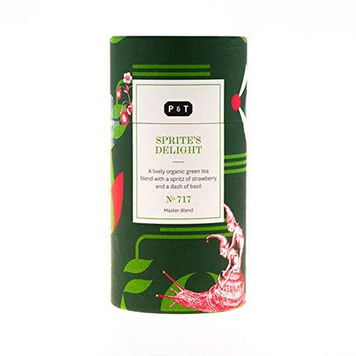 P & T Sprite's Delight, Master Blend de Té Verde Orgánico en Hebra a Granel, Mezcla de Té Verde Chino con Fresa y Albahaca, Tarro con Estilo (90g / 3,2oz)