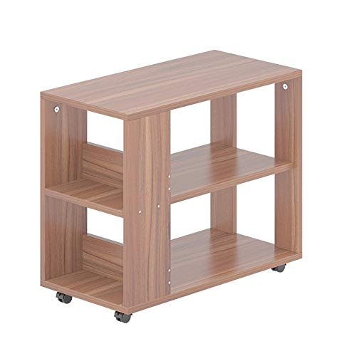 Saladplates-LXM MDF-salontafel met wieltjes voor koffie, draagbaar, nachtkastje, bijzettafel voor woonkamer, kantoor (2 kleuren)