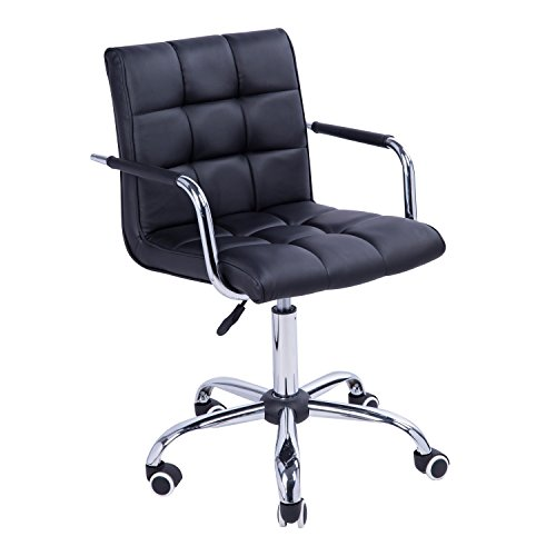 HOMCOM Modern Computer Desk Office Chair with Upholstered PU Leather,...