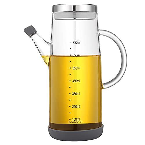 Dispensador de aceite de oliva de 750 ml con tapa sin goteo para boquilla de vidrio, aceite cruet vinagre, botellas de almacenamiento de aceite con escala