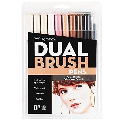 Estojo Dual Brush com 10 Canetas Pincéis, Cores Faciais