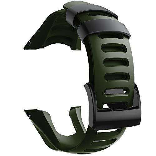 NotoCity Compatible con Correa Suunto Ambit 3, Silicona Reloj de Recambio Brazalete Correas para Suunto Ambit 3 (Hebilla Negra, Armee Green)