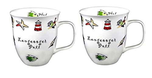 2 Stück- Porzellan- Tasse, Kaffeepott, Rondo- Becher - Langeoog- maritim -deutsches Produktdesign